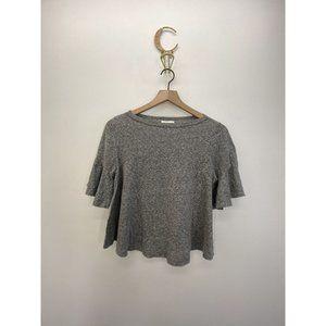 T.La Crew Neck Short Sleeve Solid Tee Gray Size XS